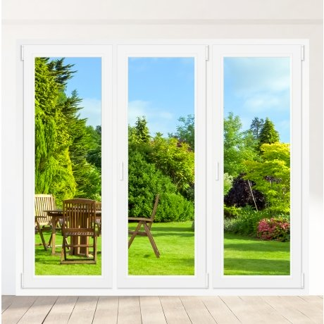 Porte-fenêtre PVC 2 vantaux + 1 vantail droite - sur mesure