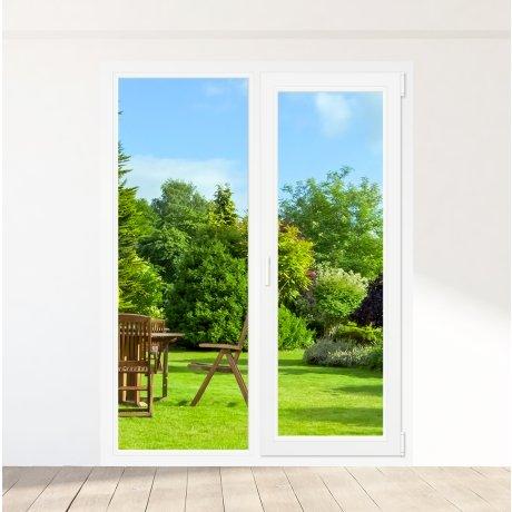 Porte-fenêtre PVC 1 ventail + 1 fixe - sur mesure