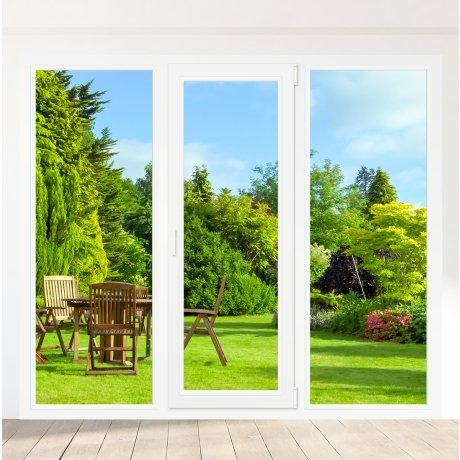 Porte-fenêtre PVC 1 vantail + 2 fixes latéraux - sur mesure