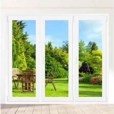 Porte-fenêtre PVC 2 vantaux + 1 vantail droite Oscillo-battant - sur mesure
