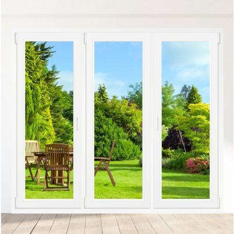 Porte-fenêtre PVC 2 vantaux + 1 vantail gauche Oscillo-battant - sur mesure