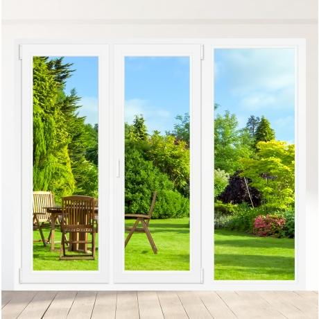 Porte-fenêtre PVC 2 vantaux + 1 fixe à droite - sur mesure