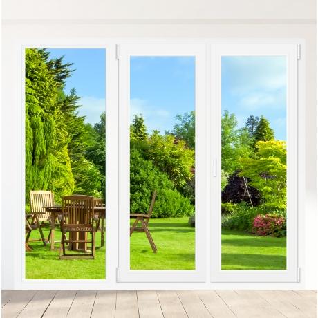 Porte-fenêtre PVC 2 vantaux + 1 fixe à gauche - sur mesure