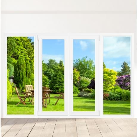 Porte-fenêtre PVC 2 vantaux + 2 fixes latéraux - sur mesure